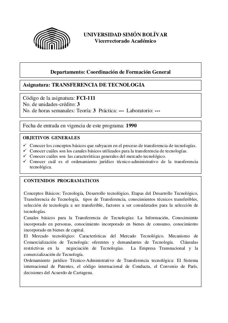 Fci 111 Transferencia de tecnología
