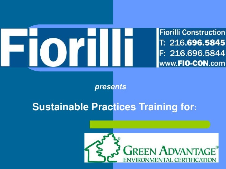 presents  Sustainable Practices Training for:
