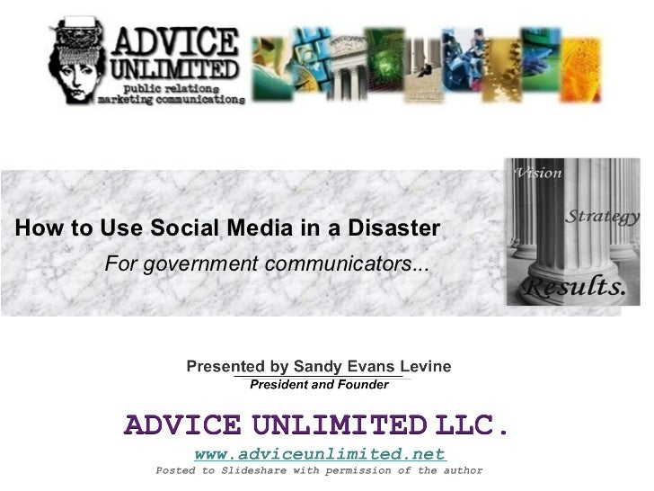How to Use Social Media in a Disaster   For government communicators...