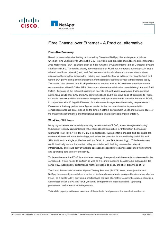 White Paper                                           Fibre Channel over Ethernet – A Practical Alternative               ...