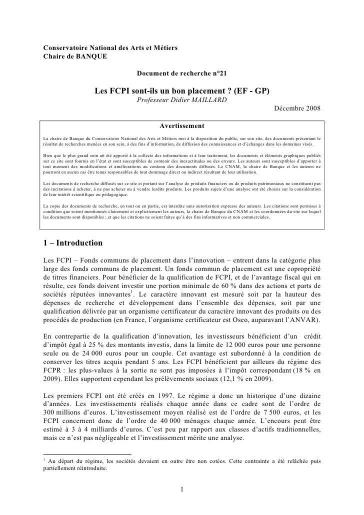 Conservatoire National des Arts et Métiers Chaire de BANQUE                                                  Document de r...