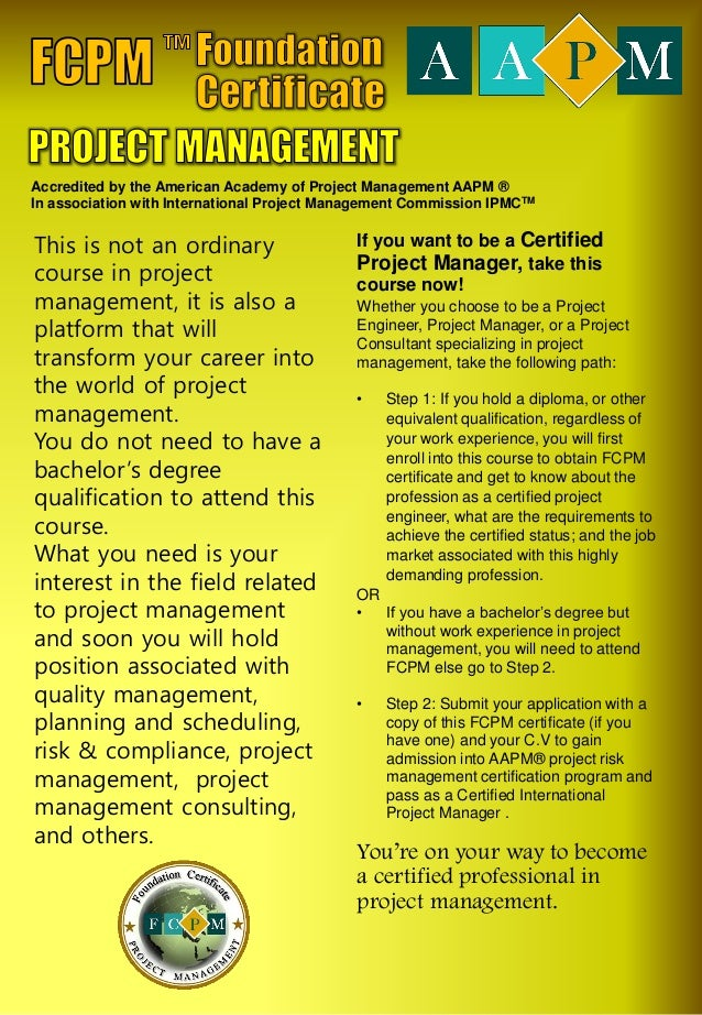 Foundation Certificate in Project Management by Syseneg Academy