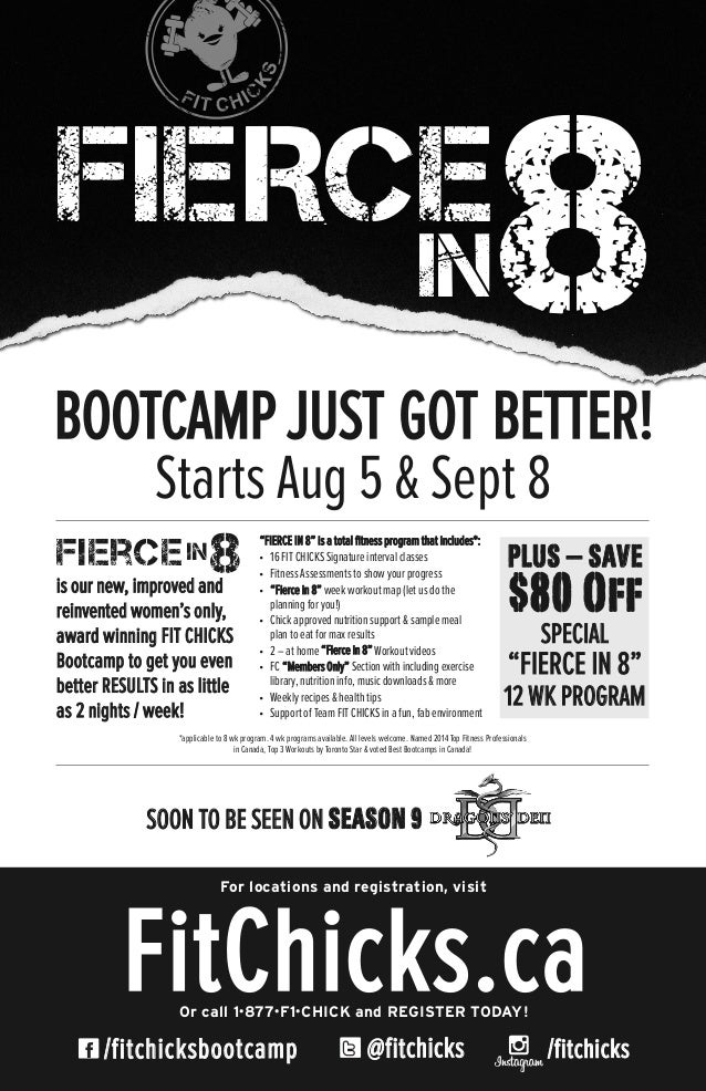 @fitchicks/fitchicksbootcamp FitChicks.caOr call 1•877•F1•CHICK and REGISTER TODAY! For locations and registration, visit ...
