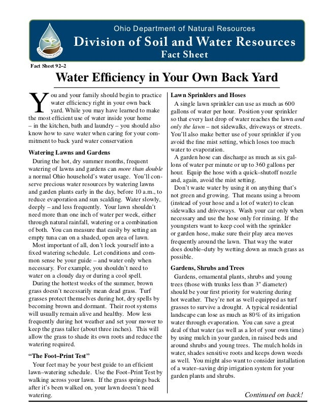 Water Efficiency in Your Own Back Yard - Ohio