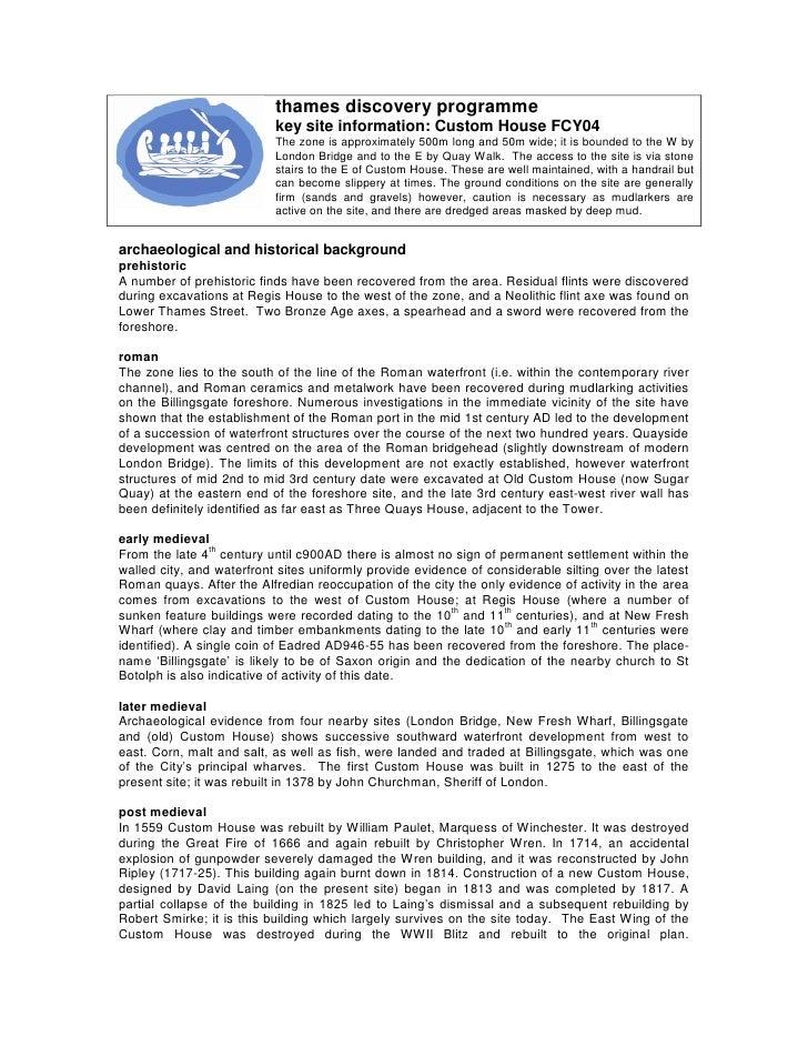 Custom House key site information