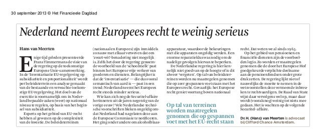 Het Financieele Dagblad: opinieartikel Hans van Meerten