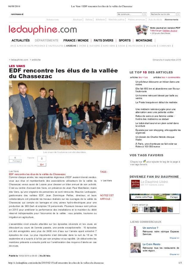 04/09/2016 Les Vans | EDF rencontre les élus de la vallée du Chassezac http://c.ledauphine.com/ardeche/2015/02/15/edf-renc...