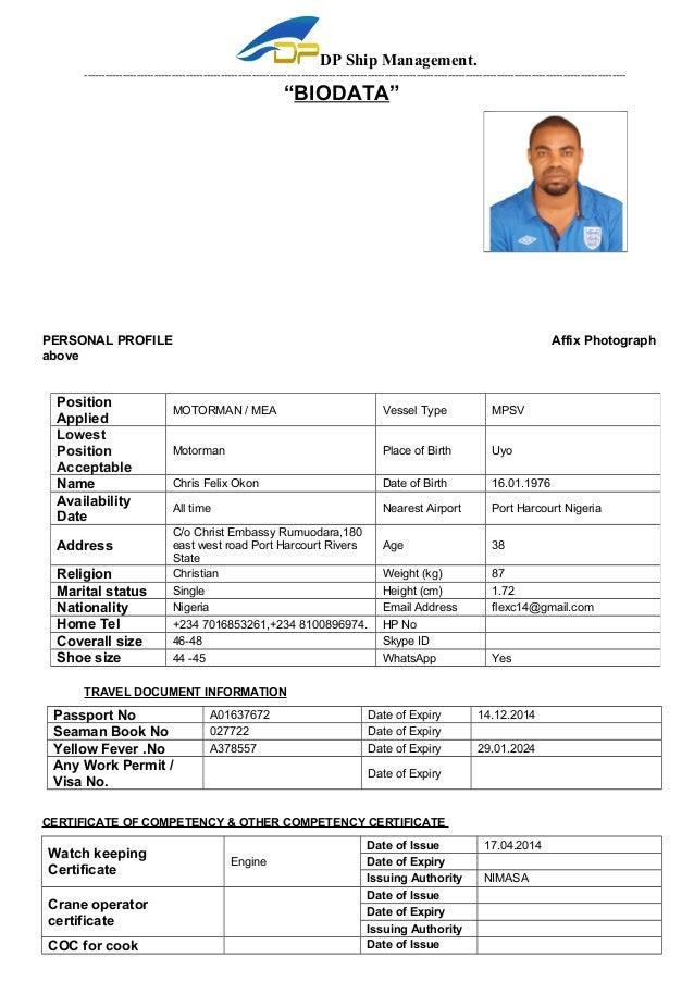 seaman resume format free download
