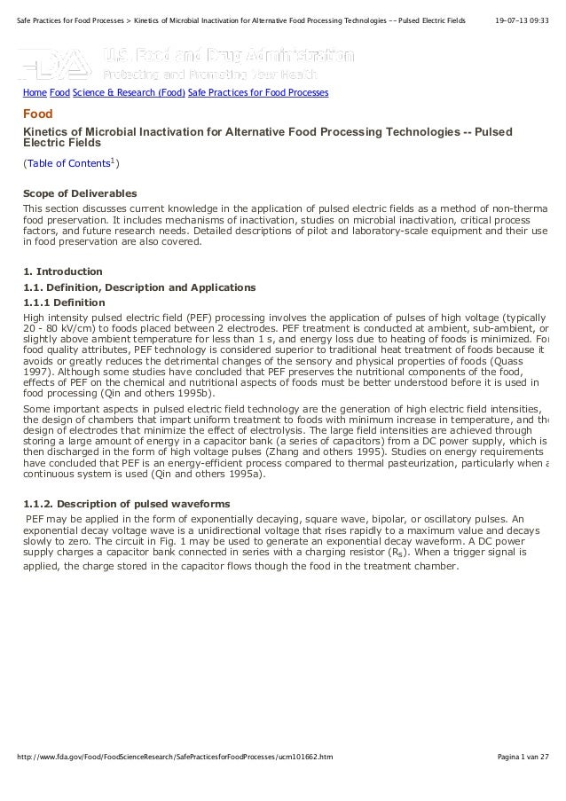 FDA - kinetics of microbial inactivation for alternative food processing technologies -- pulsed electric fields