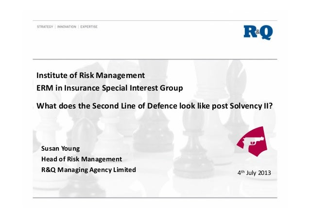 IRM SIG What does the Second Line of Defence look like