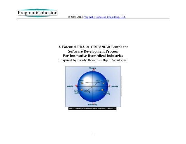 © 2005-2013 Pragmatic Cohesion Consulting, LLC1A Potential FDA 21 CRF 820.30 CompliantSoftware Development ProcessFor Inno...