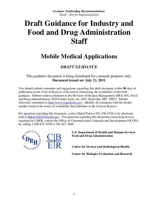 FDA Draft Guidance for Industry and Food and Drug Administration Staff - Mobile Medical Applications