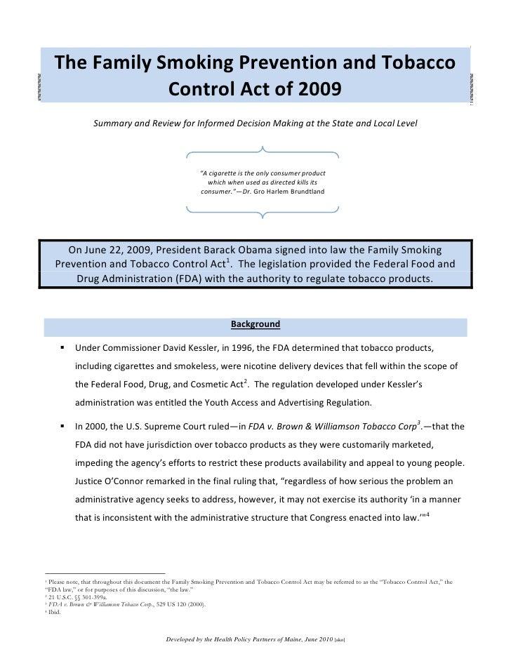 FDA Tobacco Control Act 2009 Summary Document, June 2010
