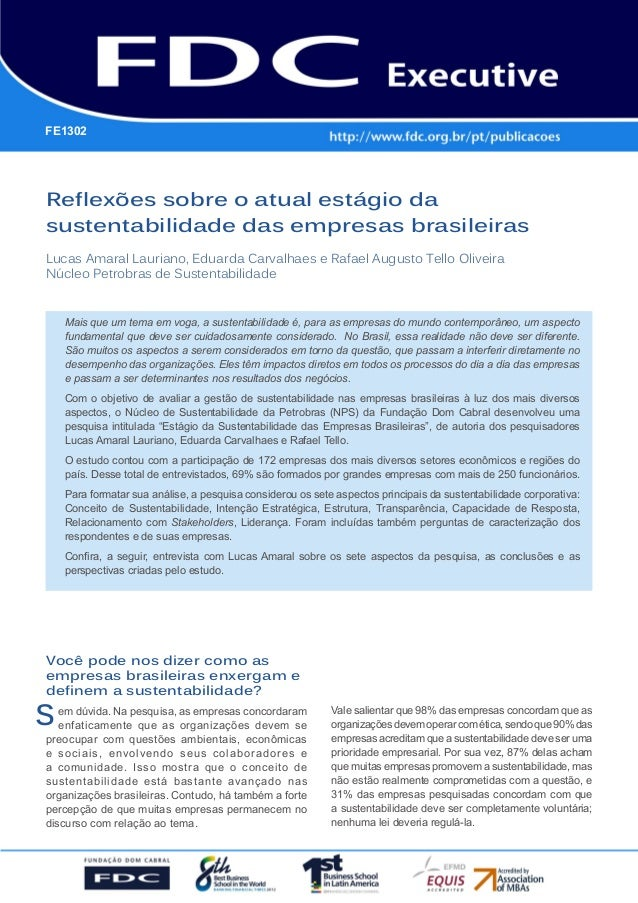 Reflexões sobre o atual estágio da sustentabilidade das empresas brasileiras