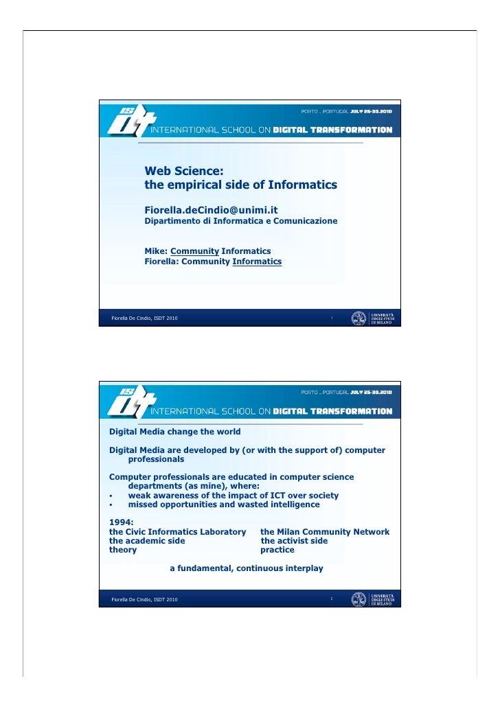 Scuola di Dottorato in Informatica Curriculum Process and Interactive System Design                   Web Science:        ...