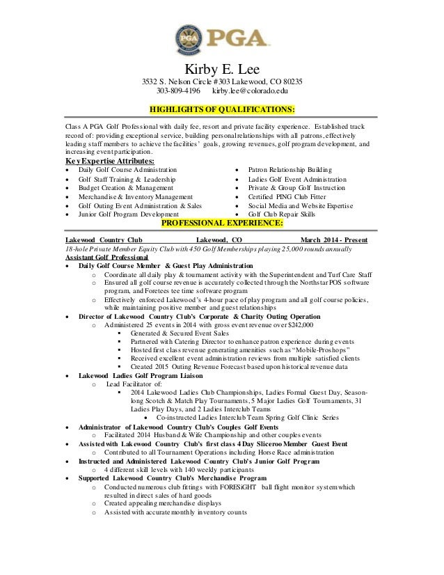 Head Golf Professional Resume