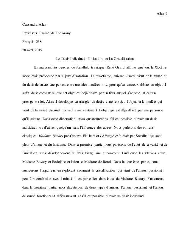 Allen 1 Cassandra Allen Professeur Pauline de Tholozany Français 238 28 avril 2015 Le Désir Individuel, l'Imitation, et La...