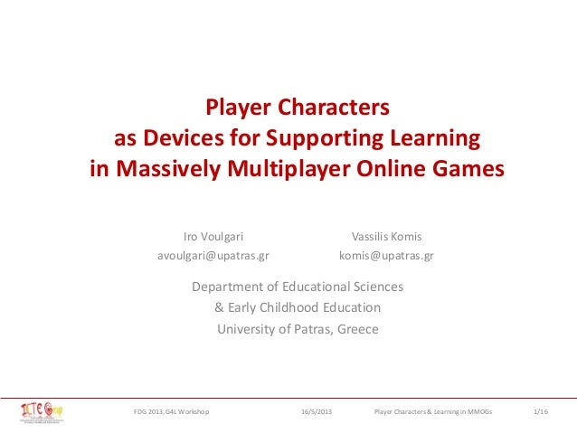 Player Characters as Devices for Supporting Learning in Massively Multiplayer Online Games
