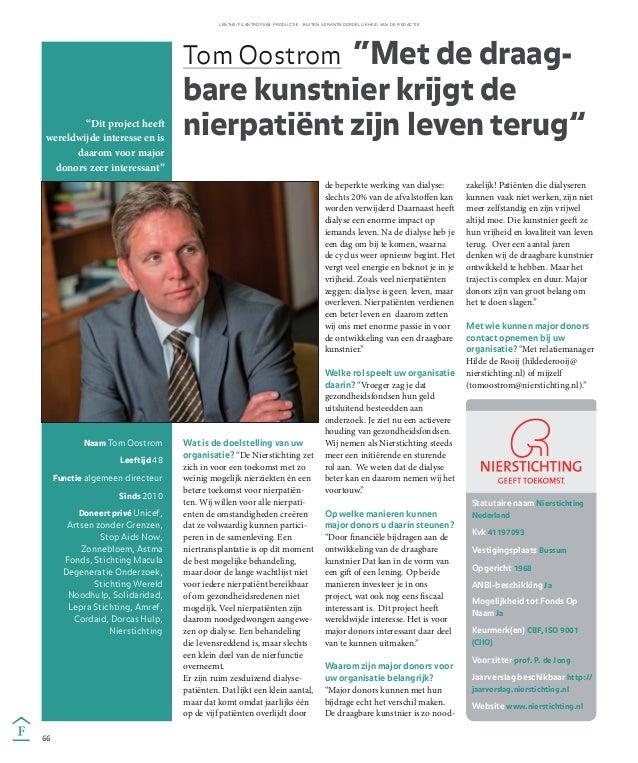 Interview Tom Oostrom (Nierstichting) voor de bijlage van het Financieele Dagblad