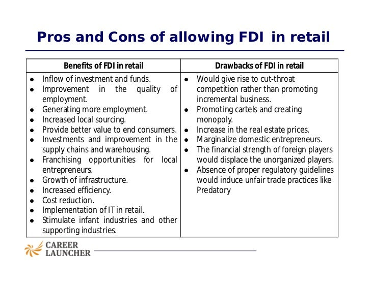 disadvantages of fdi One of the advantages of foreign direct investment is that it helps in the economic development of the particular country where the investment is being made.