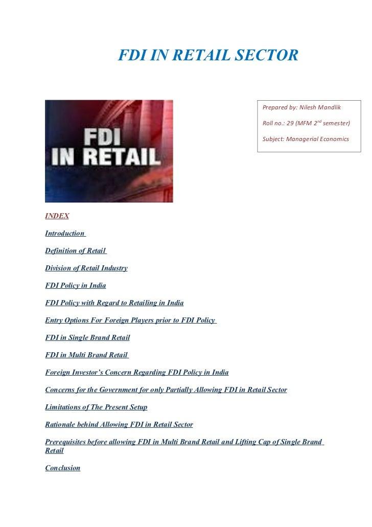 Fdi in retail sector in india(final)