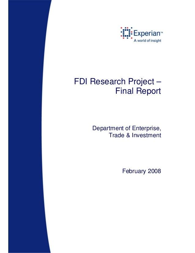 FDI Research Project – Final Report  Department of Enterprise, Trade & Investment  February 2008