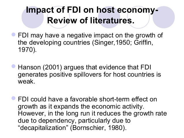 fdi and its impact on host Determinants of foreign direct investment: a sectoral and institutional  could impact the efficiency gains companies  exchange rate depreciation in host.