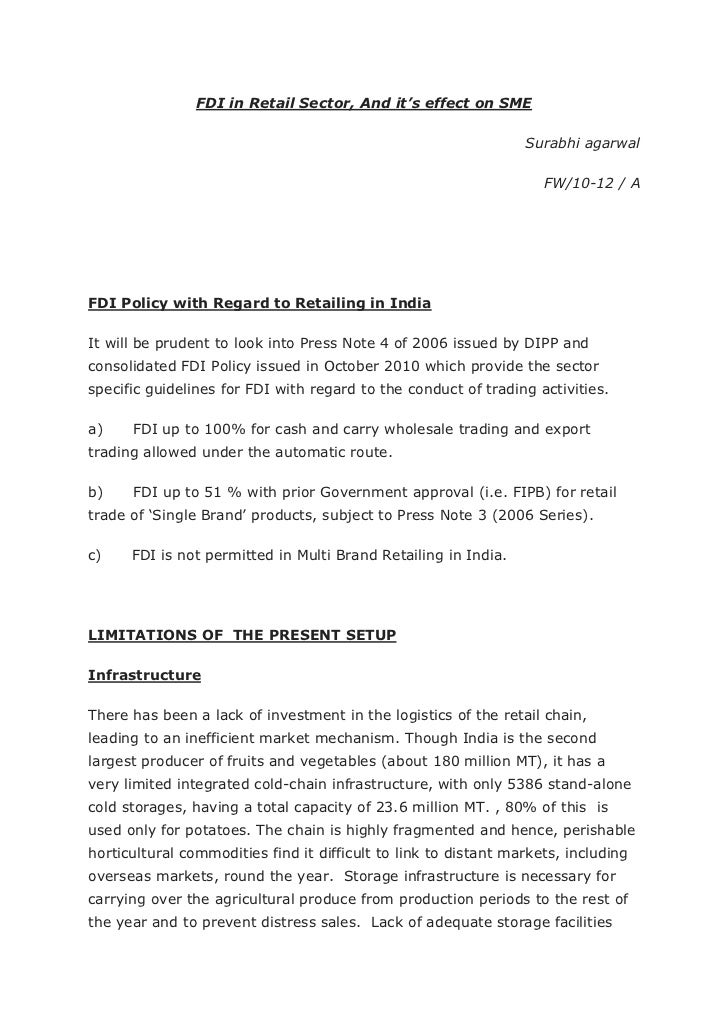 Fdi policy with regard to retailing in india