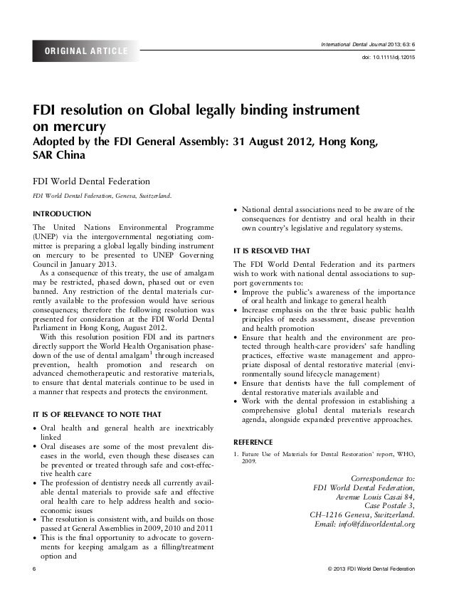 Fdi resolution on global legally binding instrument on mercury adopted by the fdi general assembly  31 august 2012, hong kong, sar chinaidj 12015