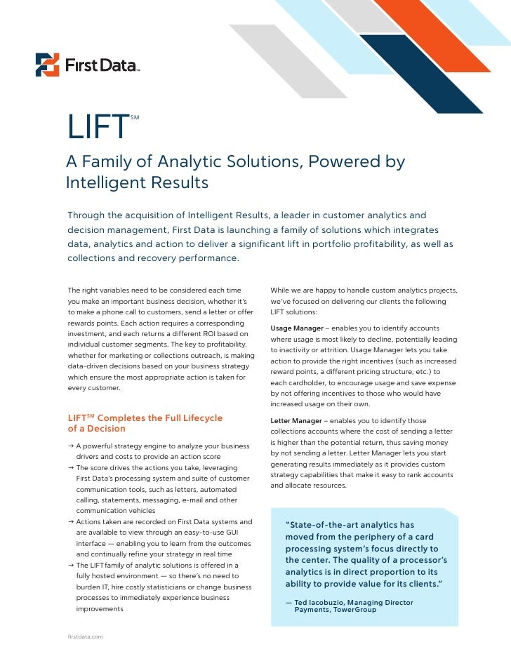 LIFT                     SM     A Family of Analytic Solutions, Powered by Intelligent Results Through the acquisition of ...