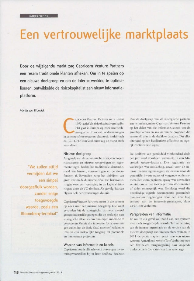FDMagazine : Interview CFO Capricorn Venture Partners - 01-2013