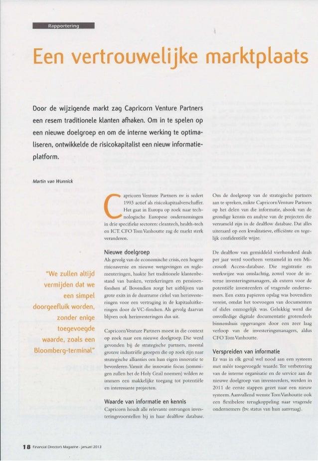 FDMagazine : Interview CFO Capricorn Venture Partners - 01-2013