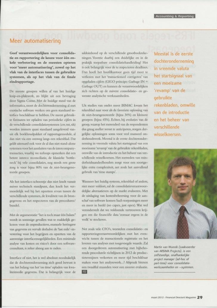 FD Magazine - artikel over automatisering bij financiële consolidatie