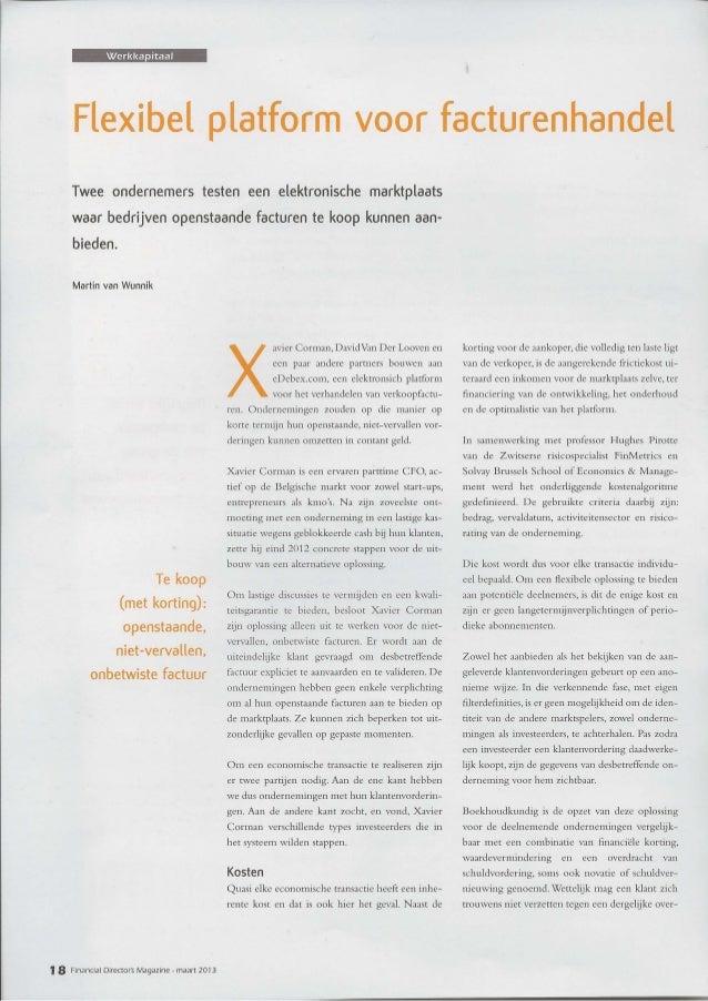 FD Magazine - Interview CFO Xavier Corman, EDEBEX platform - Maart 2013