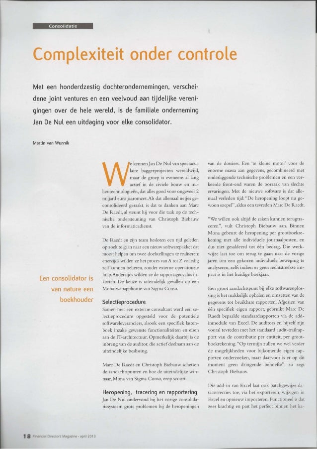 FD Magazine - Consolidatie bij Jan De Nul Group - April 2013