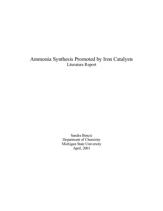 Ammonia Synthesis Promoted by Iron Catalysts Literature Report  Sandra Bencic Department of Chemistry Michigan State Unive...