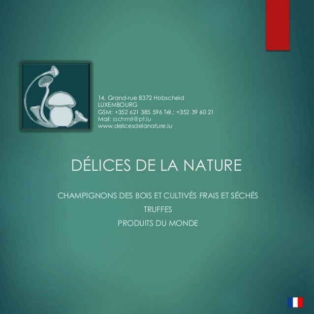DÉLICES DE LA NATURE CHAMPIGNONS DES BOIS ET CULTIVÉS FRAIS ET SÉCHÉS TRUFFES PRODUITS DU MONDE 14, Grand-rue 8372 Hobsche...