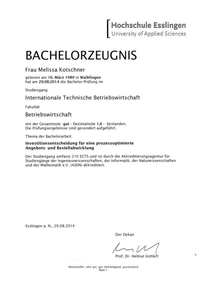 Bachelorzeugnis