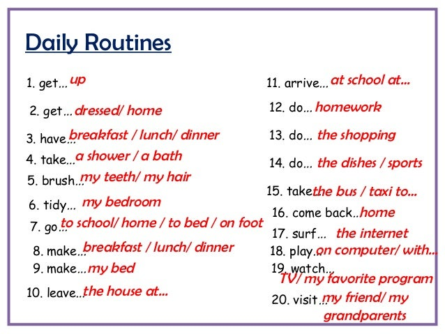 Phrasal Verbs For Daily Routines