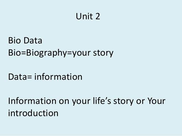Fe 2 Unit 2 biodata