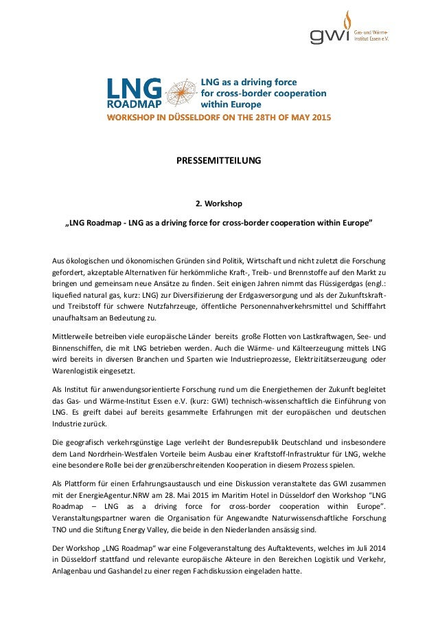 """PRESSEMITTEILUNG 2. Workshop """"LNG Roadmap - LNG as a driving force for cross-border cooperation within Europe"""" Aus ökologi..."""