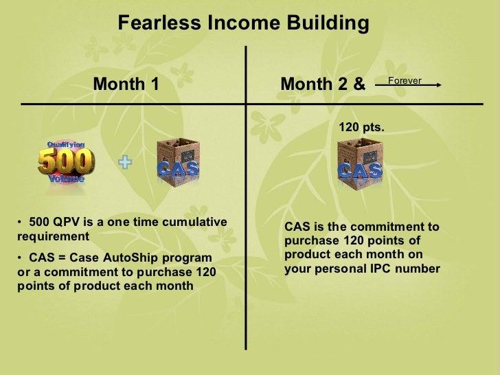 Month 1 Month 2 & Fearless Income Building Forever <ul><li>500 QPV is a one time cumulative requirement </li></ul><ul><li>...