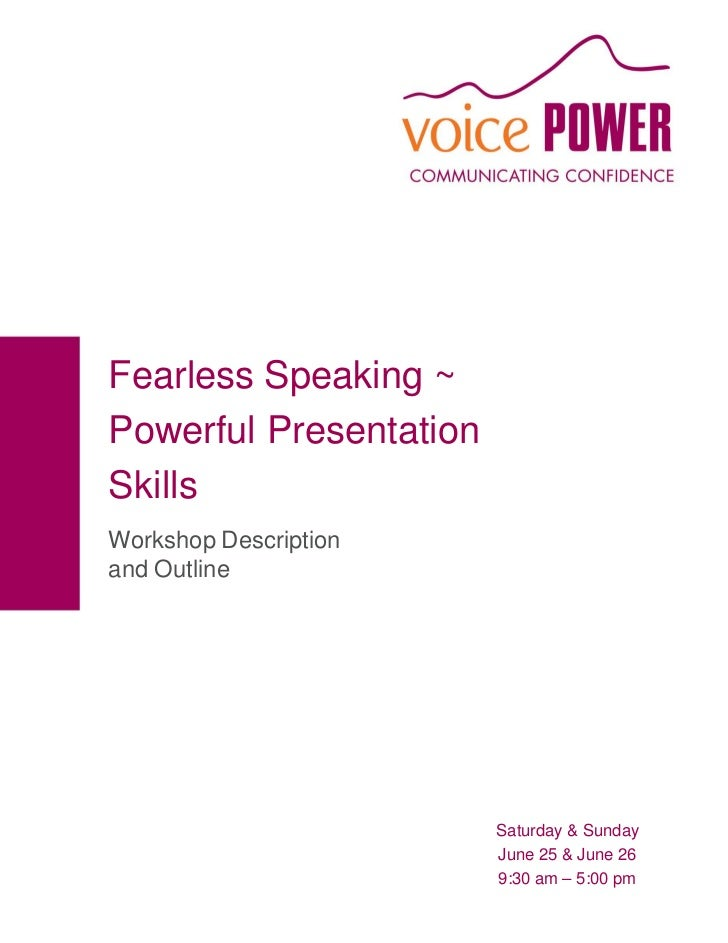 Fearless Speaking  June Presentation Workshop