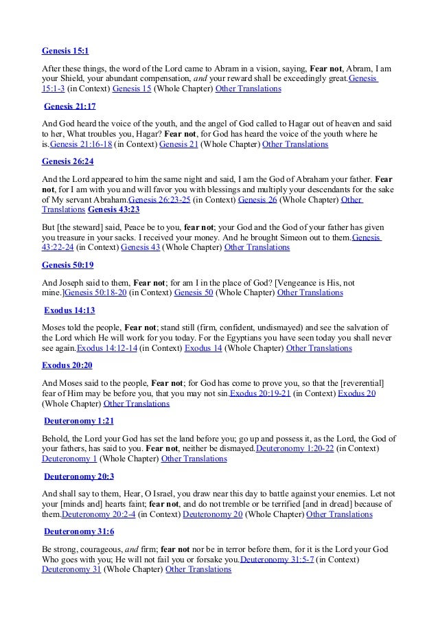 Fear not scriptures