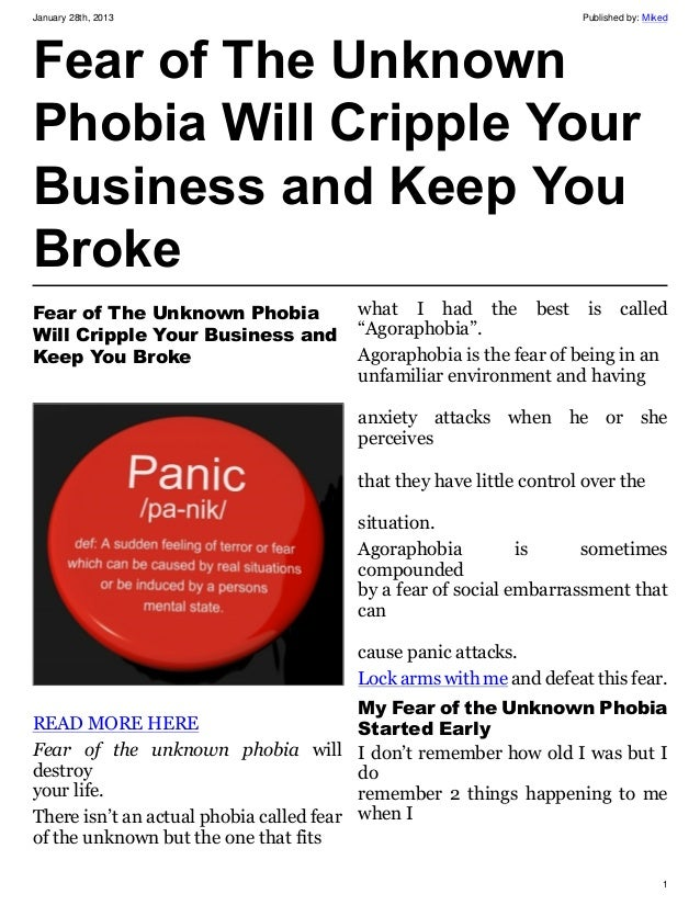 Fear of The Unknown Phobia Will Cripple Your Business and Keep You Broke