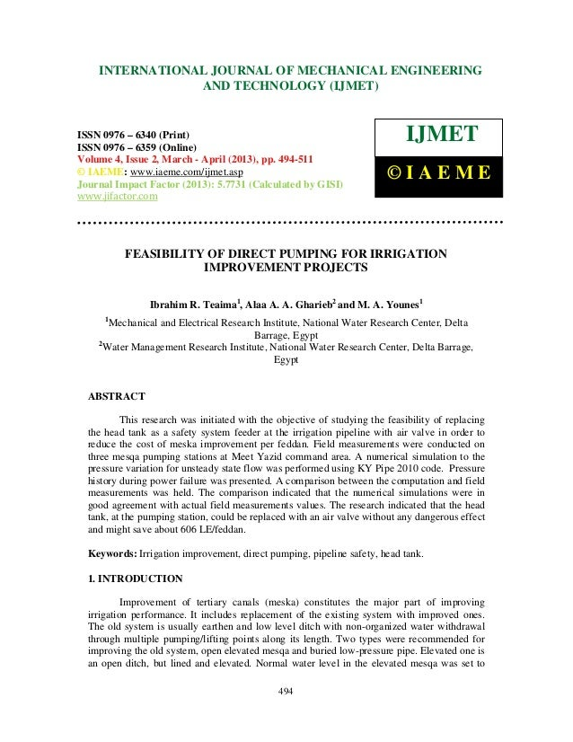 Feasibility of direct pumping for irrigation improvement projects