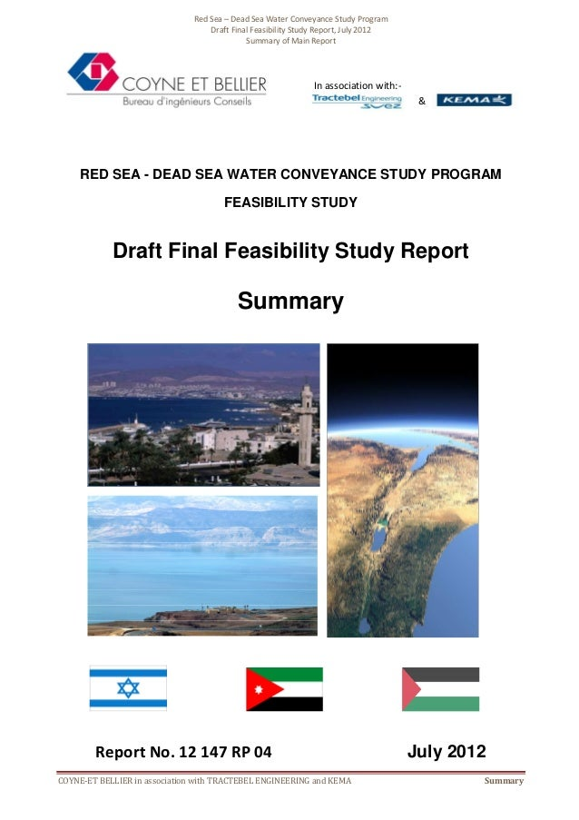 Red Sea - Dead Sea Water Conveyance - Feasibility Study - report summary