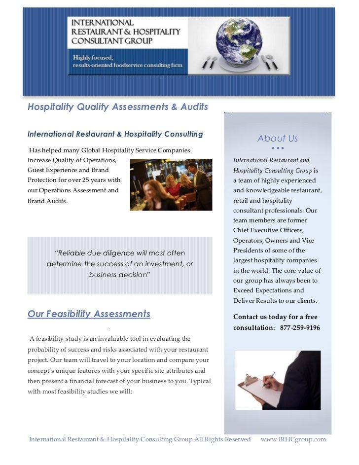Hospitality Quality Assessments & AuditsInternational Restaurant & Hospitality Consulting                                 ...