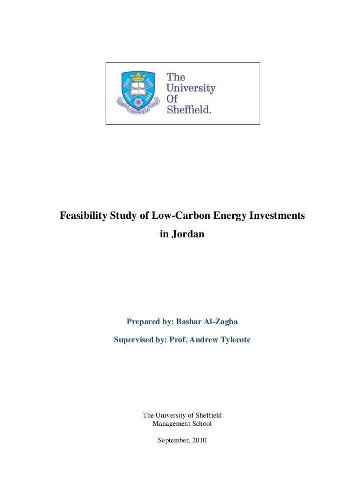 Feasibility Study of Low-Carbon Energy Investments                       in Jordan              Prepared by: Bashar Al-Zag...