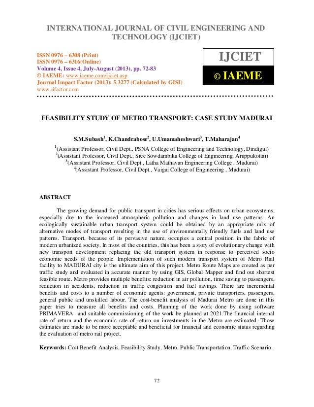 Feasibility study of metro transport case study madurai
